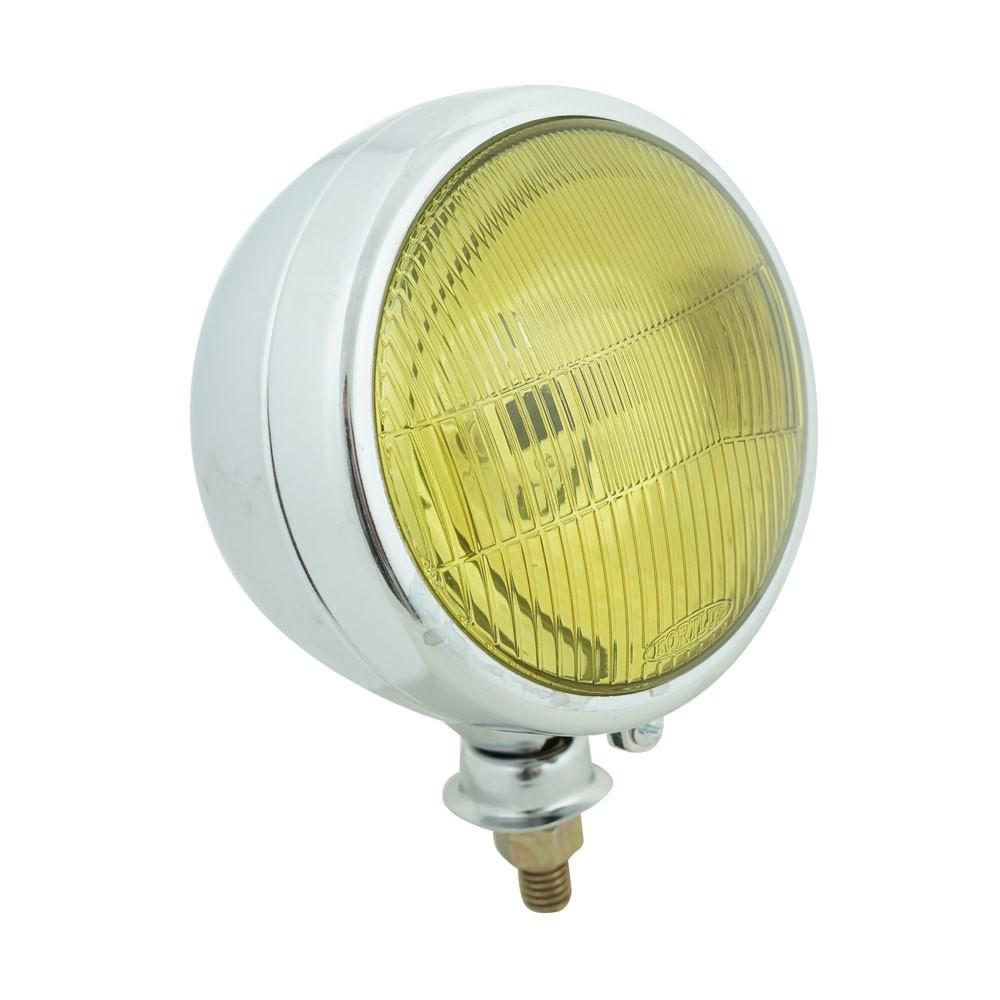 Farol auxiliar, milha, cromado modelo lente amarela raiada  - Bunnitu Peças e Acessórios