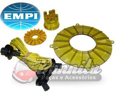 Kit de motor EMPI em acrílico com tampas de polias, distribuidor e cabos para linha VW Ar  - Bunnitu Peças e Acessórios