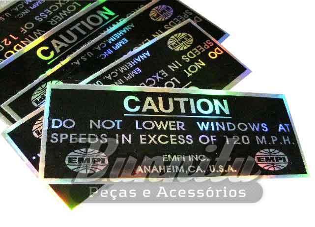 Adesivo original Empi modelo Caution / 200 mph  - Bunnitu Peças e Acessórios