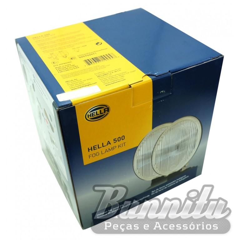 Par de farol de milha, auxiliar modelo Hella 500 com lente raiada  - Bunnitu Peças e Acessórios