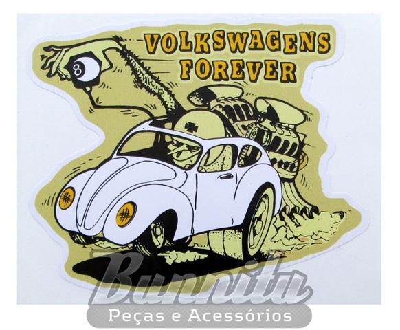 Adesivo modelo Volkswagens Forever branco  - Bunnitu Peças e Acessórios