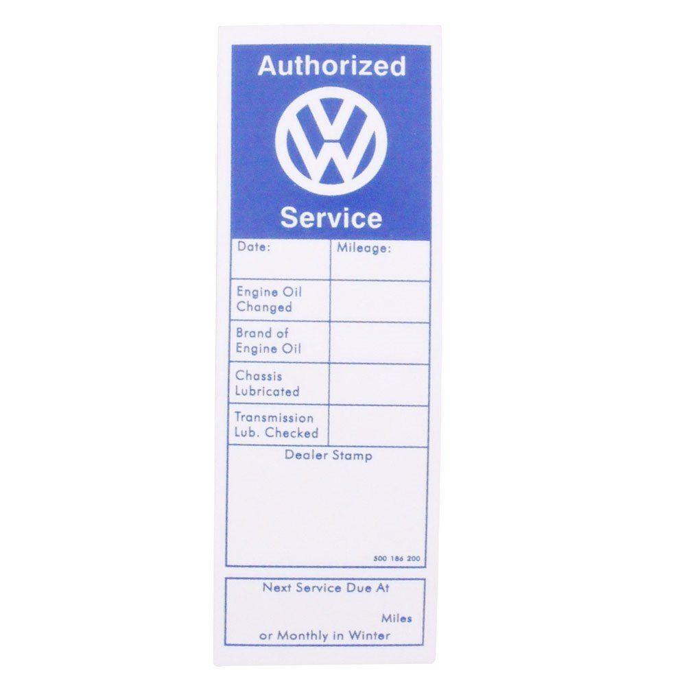Adesivo de revisão em concessionária VW para Fusca, Kombi e Karmann Ghia  - Bunnitu Peças e Acessórios