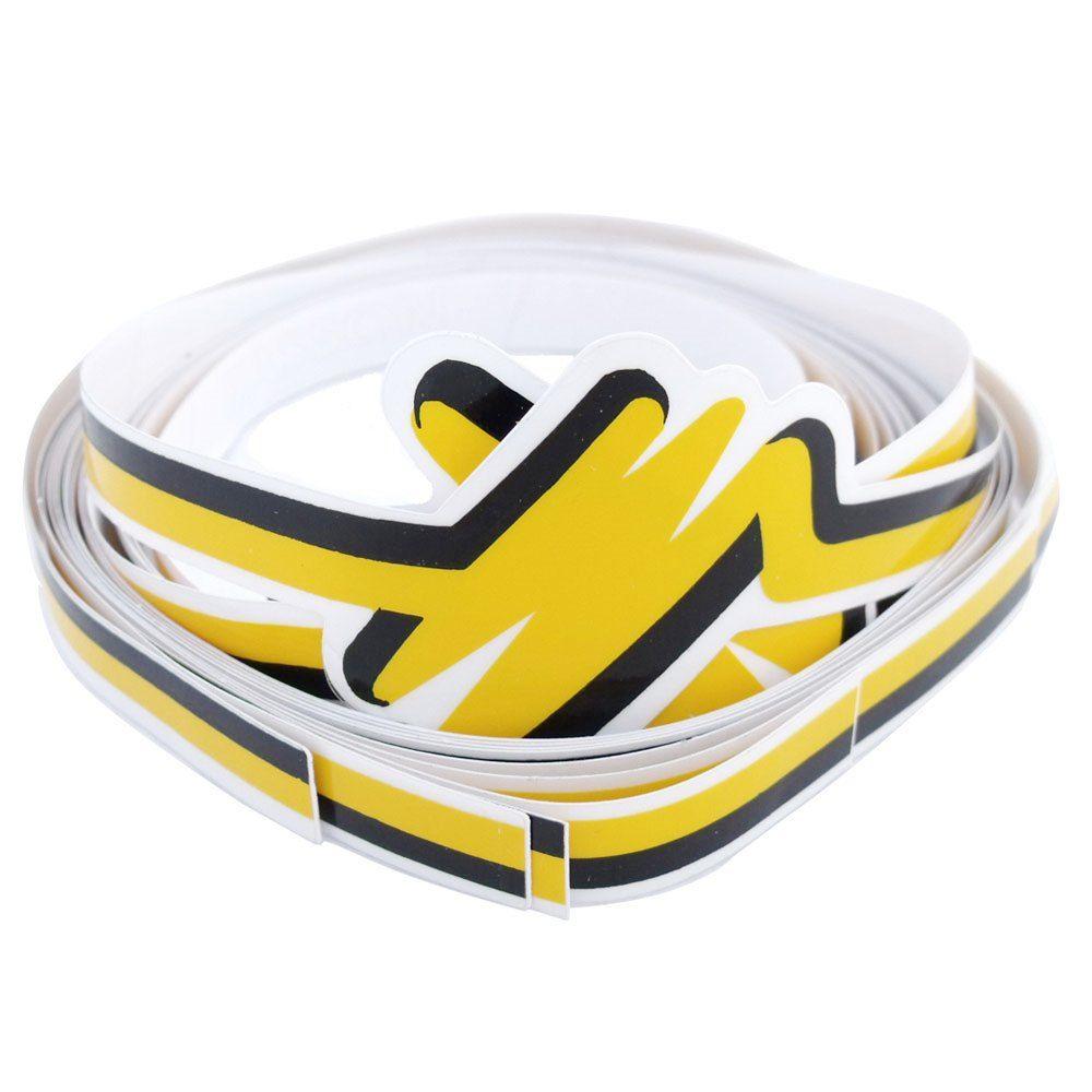 Adesivo filete da lateral para VW Fusca 1993 à 1996 na cor amarela  - Bunnitu Peças e Acessórios