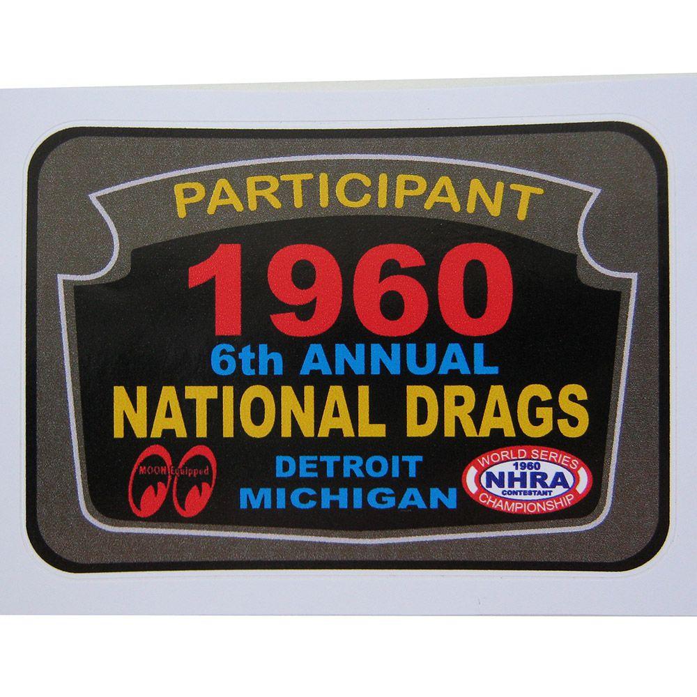 Adesivo modelo Encontro anual - Participant 1960 National Drags  - Bunnitu Peças e Acessórios