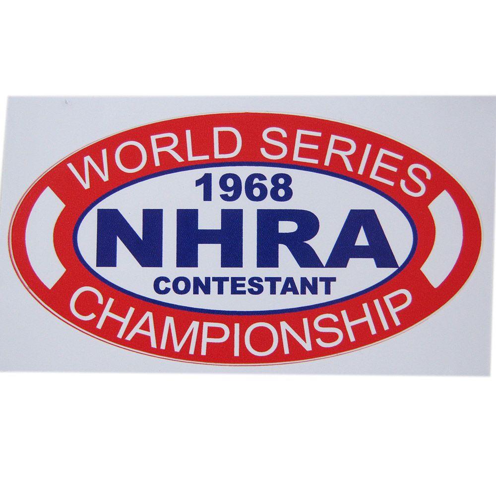 Adesivo modelo NHRA 1968 Contestant - World Series Championship  - Bunnitu Peças e Acessórios