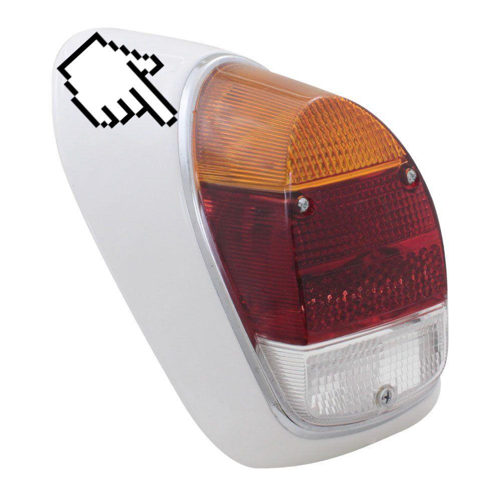 Aro em metal cromado com borracha da lanterna traseira VW Fusca 1500, 1600-S  - Bunnitu Peças e Acessórios