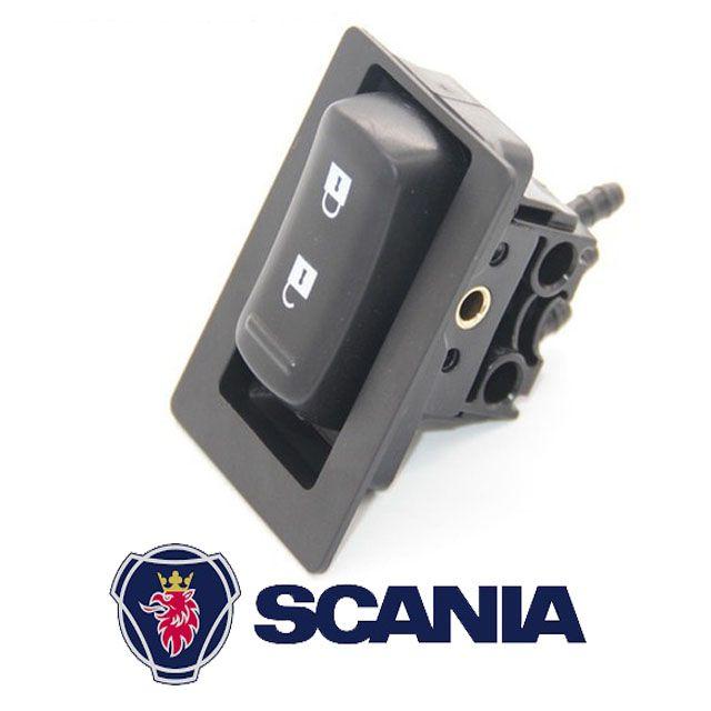 Botão Interruptor acionamento da trava da válvula de ar volante Scania S5 escamoteável 1797971  - Bunnitu Peças e Acessórios