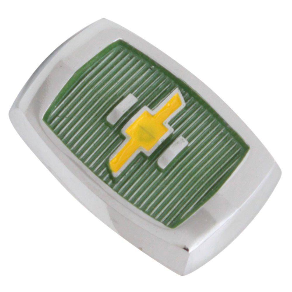 Emblema brasão do capô modelo fundo verde logo amarelo GM Chevrolet Opala 1969 à 1970  - Bunnitu Peças e Acessórios