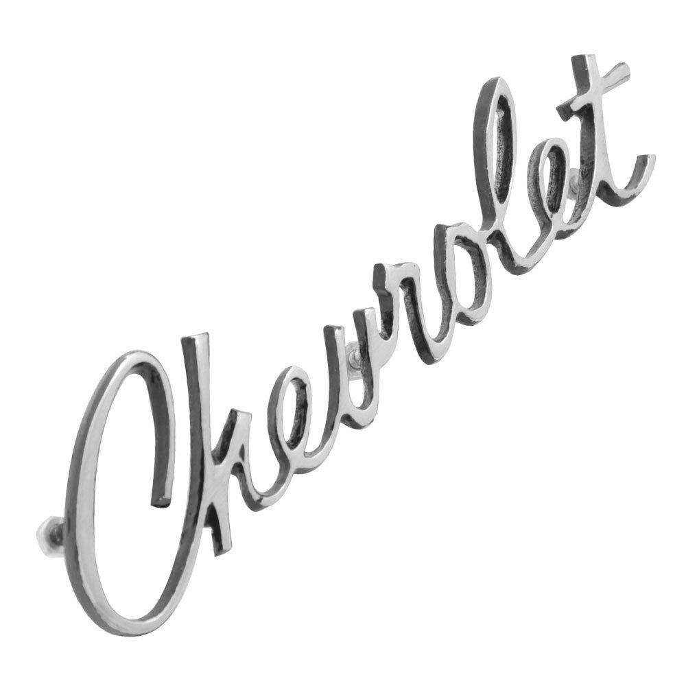 Emblema Chevrolet manuscrito do capô dianteiro para GM Opala 1971 à 1974  - Bunnitu Peças e Acessórios