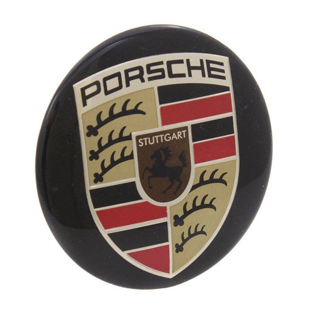 Emblema resinado modelo Porsche com 51 mm para calotas  - Bunnitu Peças e Acessórios