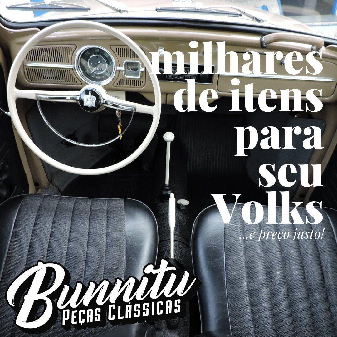Espelho de acabamento roseta interna em metal cor preta VW Fusca até 1970  - Bunnitu Peças e Acessórios
