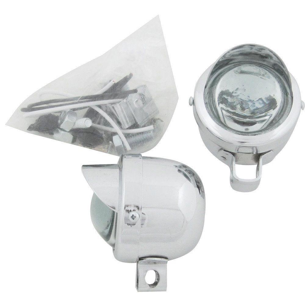 Farol auxiliar milha com pestana e lente cristal para VW Fusca Gordini Karmann Ghia  - Bunnitu Peças e Acessórios
