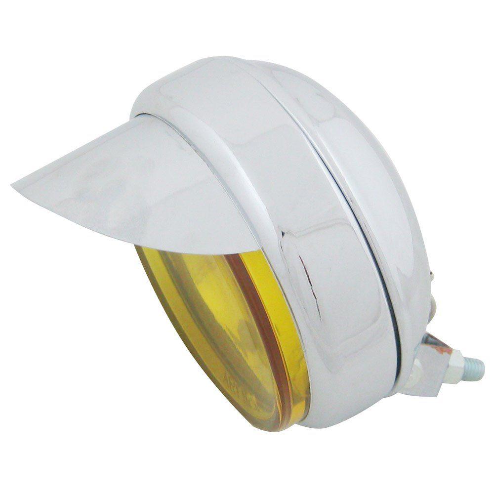 Farol auxiliar, milha, cromado com lente amarela lisa côncava de 12 cm com pestana  - Bunnitu Peças e Acessórios