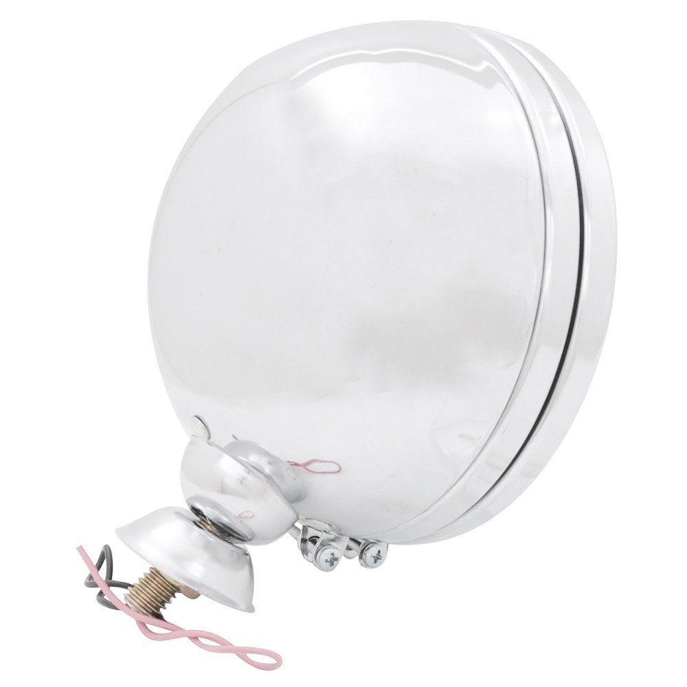 Farol auxiliar, milha, cromado com lente cristal lisa de 14 cm sem pestana  - Bunnitu Peças e Acessórios