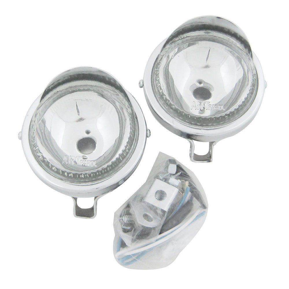 Farol auxiliar, milha, cromado com lente cristal lisa de 8 cm com pestana  - Bunnitu Peças e Acessórios
