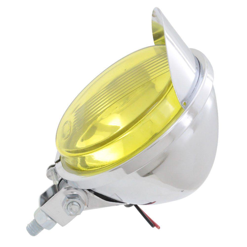 Farol auxiliar, milha, cromado lente amarela com pestana  - Bunnitu Peças e Acessórios