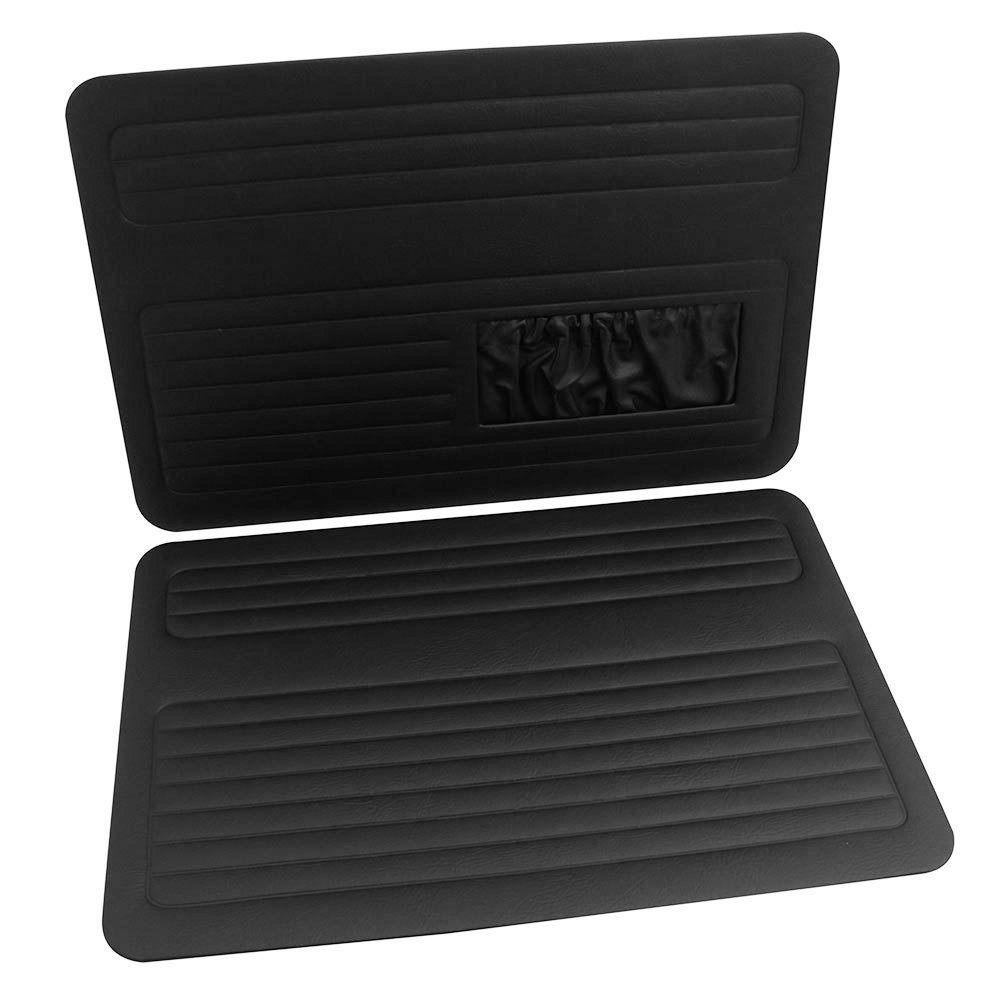Forração de portas dianteiras com bolsa na cor preta para VW Fusca até 1977  - Bunnitu Peças e Acessórios