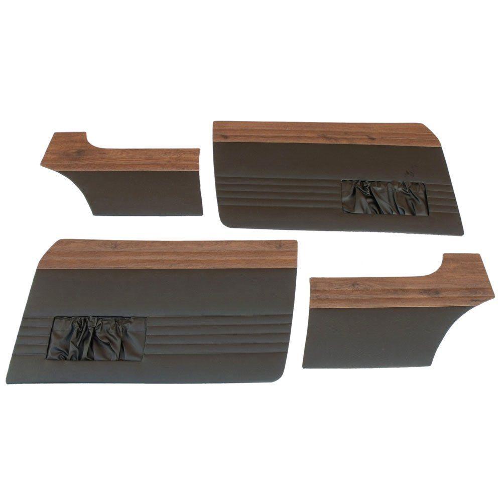 Forração revestimento lateral das portas na cor preta com jacarandá para VW Karmann Ghia  - Bunnitu Peças e Acessórios
