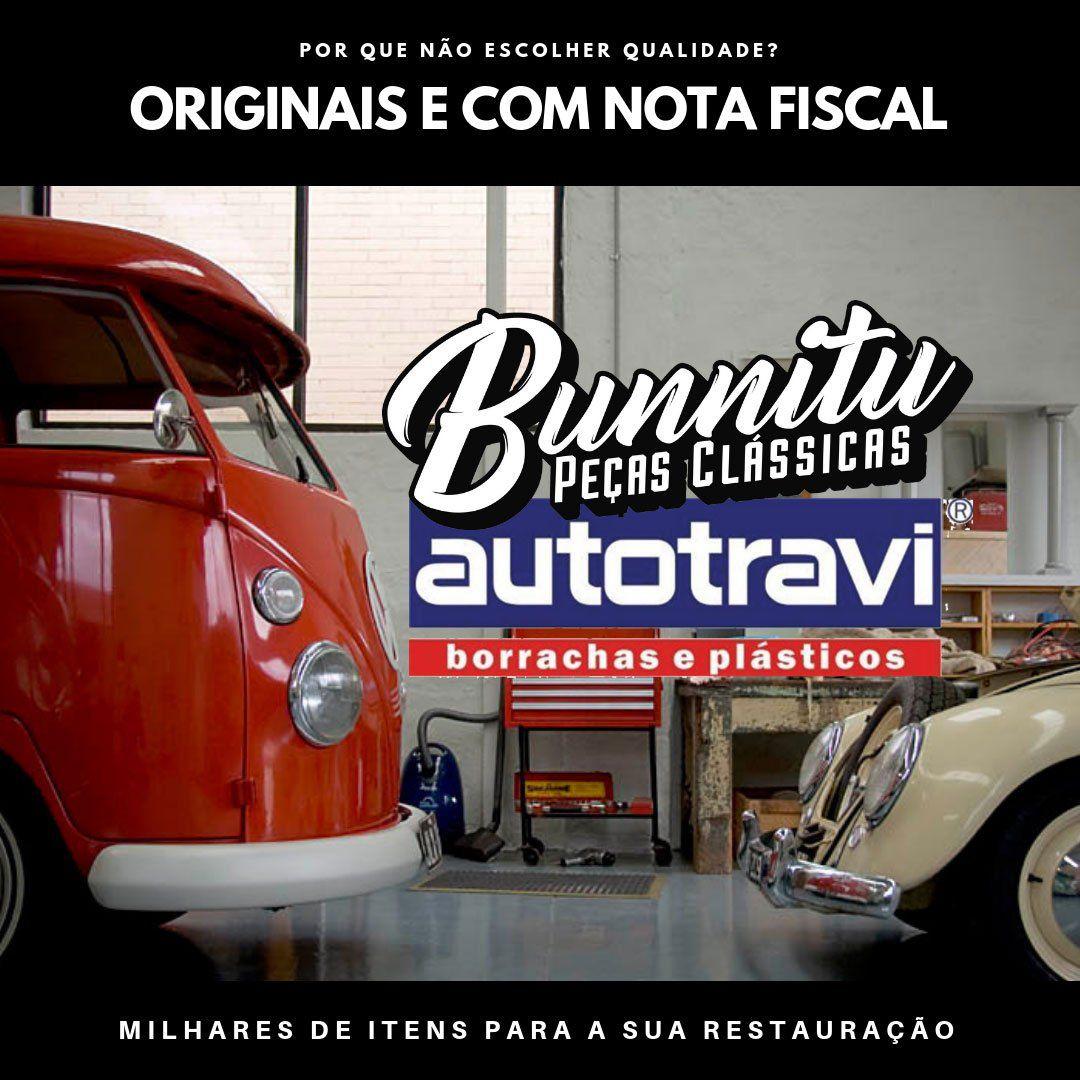 Guarnição borracha do vidro do parabrisa - Com encaixe para friso para VW Brasília e Variant 2 - Marca Autotravi  - Bunnitu Peças e Acessórios