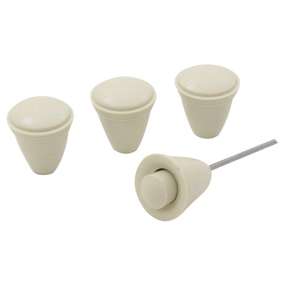 Jogo de botões na cor marfim do painel para VW Fusca e Karmann Ghia  - Bunnitu Peças e Acessórios