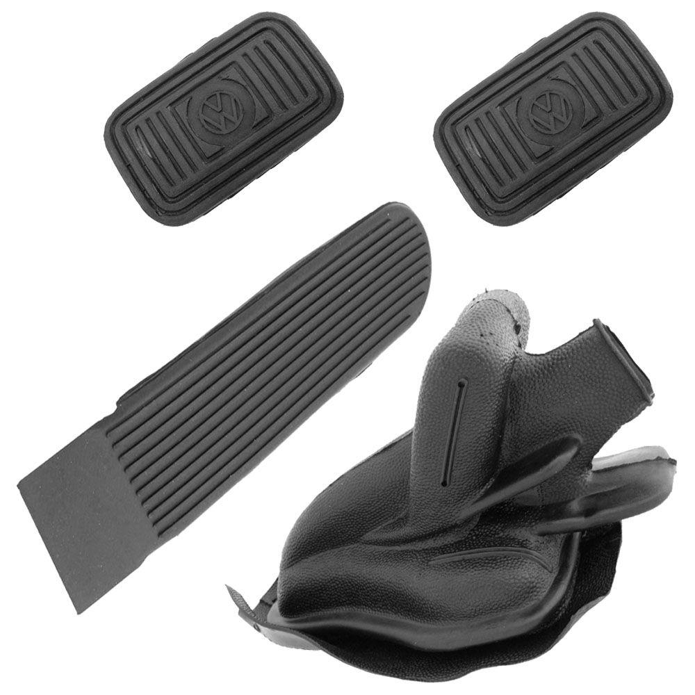 Kit, Coifa alavanca freio de mão e capa em borracha do pedal de freio, embreagem e acelerador para VW SP2  - Bunnitu Peças e Acessórios