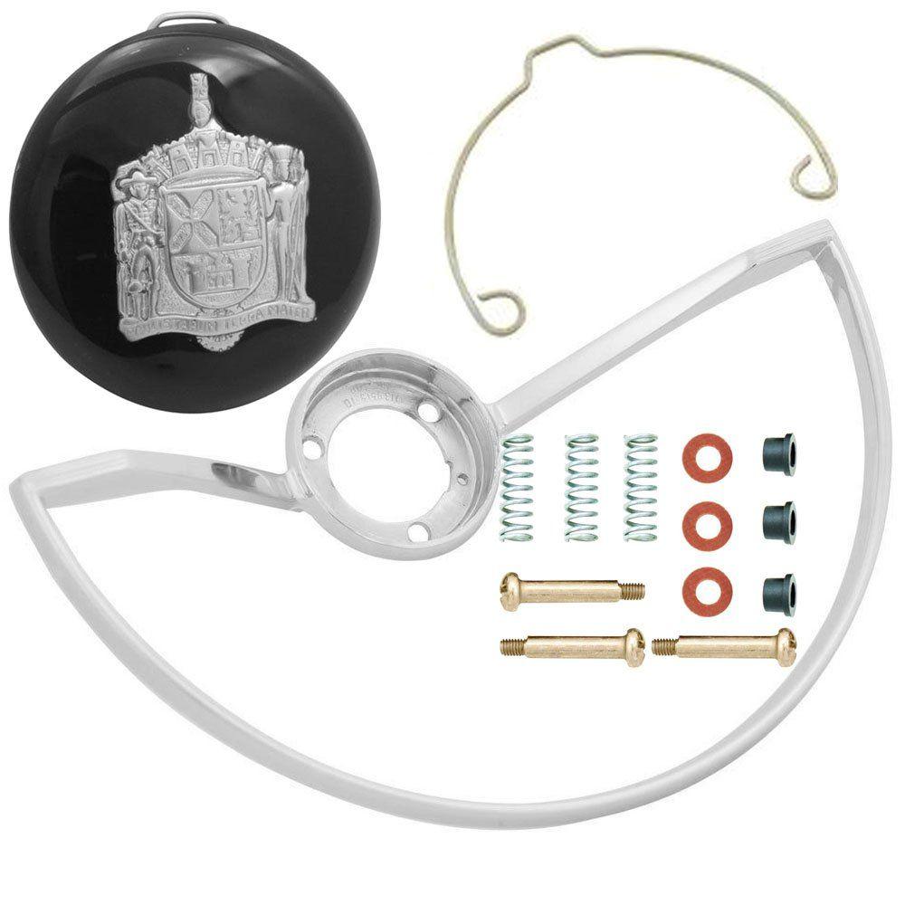 Kit com aro do volante, botão buzina e reparo de contato para VW Fusca até 1973  - Bunnitu Peças e Acessórios