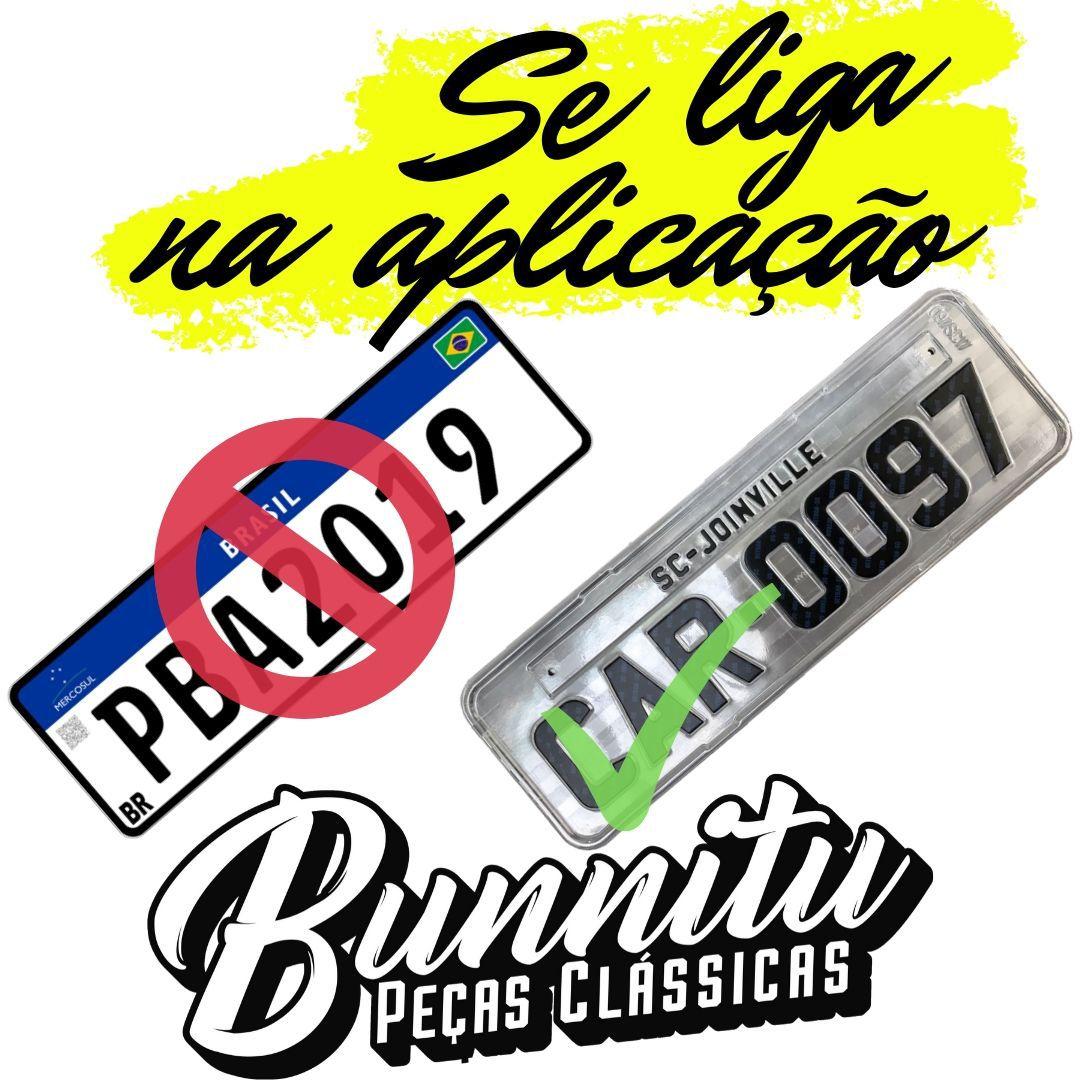 Kit Moldura de placa traseira cromada Kombi Clipper + Tijolinho  - Bunnitu Peças e Acessórios