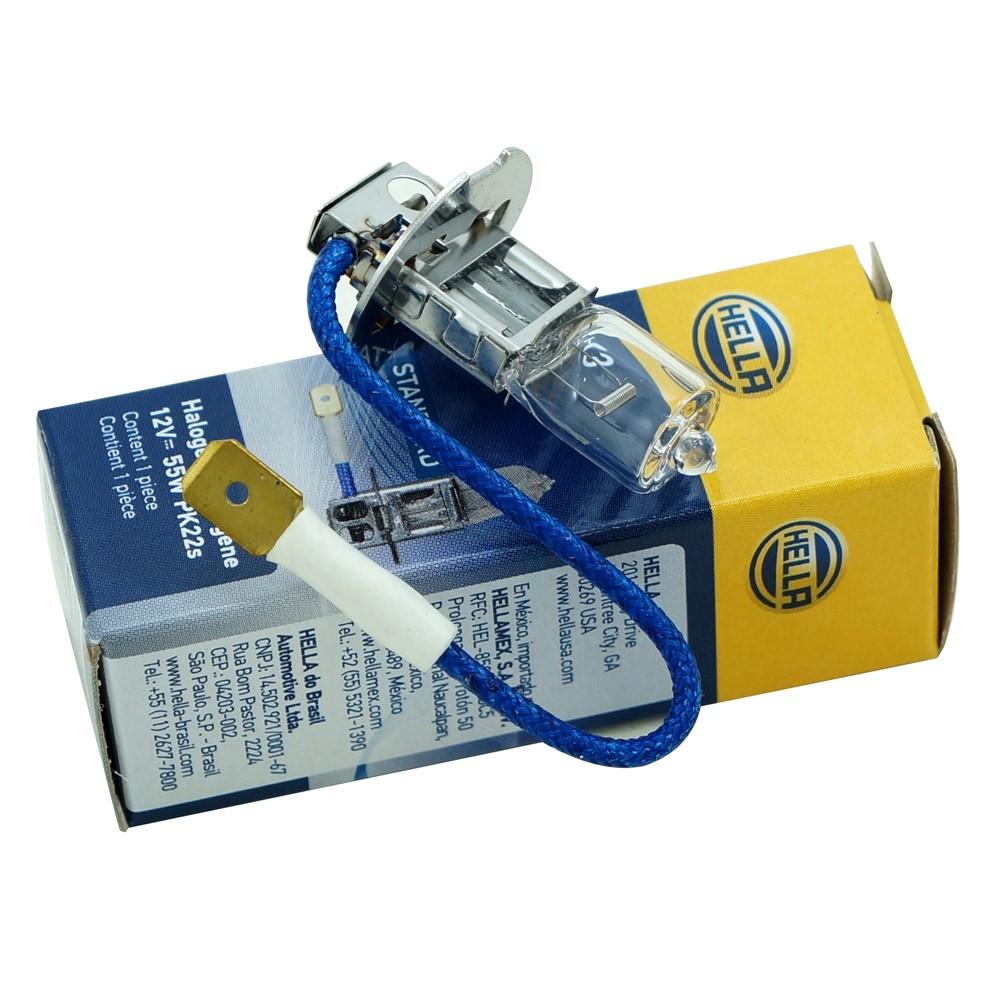 Lâmpada Halógena Hella para faróis H3 12V 55 Watts  - Bunnitu Peças e Acessórios
