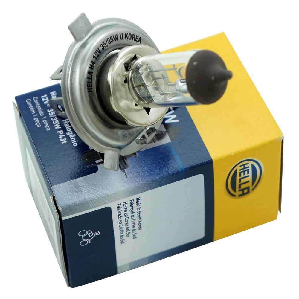 Lâmpada Halógena Hella para fárois H4 12V 35/35 Watts  - Bunnitu Peças e Acessórios