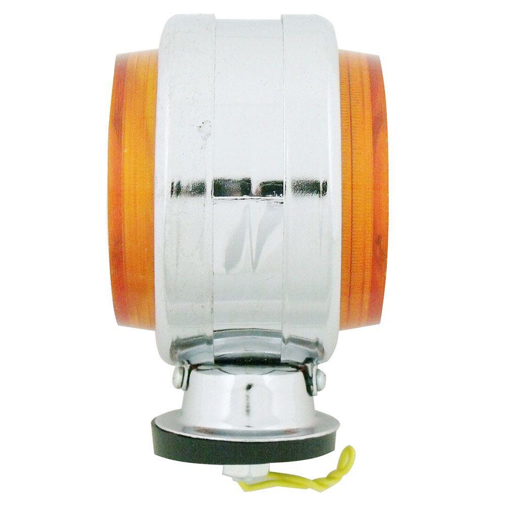 Lanterna adaptação cromada com lente ambar modelo Pirulito  - Bunnitu Peças e Acessórios