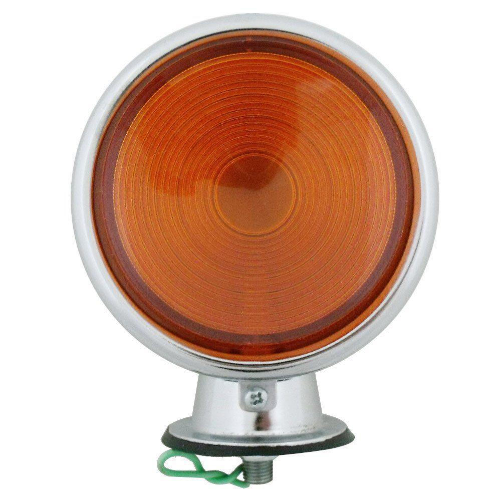 Lanterna de pisca adaptação cromada com lente ambar modelo Pirulito  - Bunnitu Peças e Acessórios