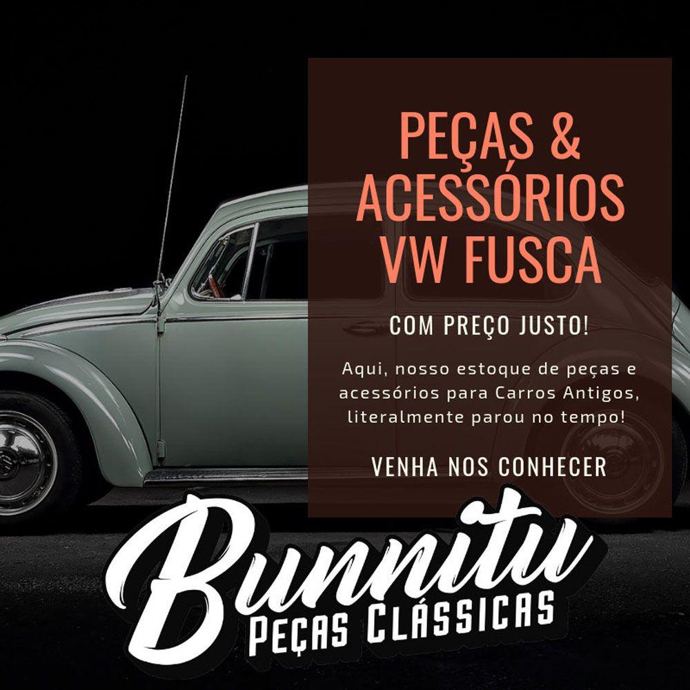 Manivela de vidro em metal com botão preto para VW Fusca até 1970 e Karmann Ghia  - Bunnitu Peças e Acessórios