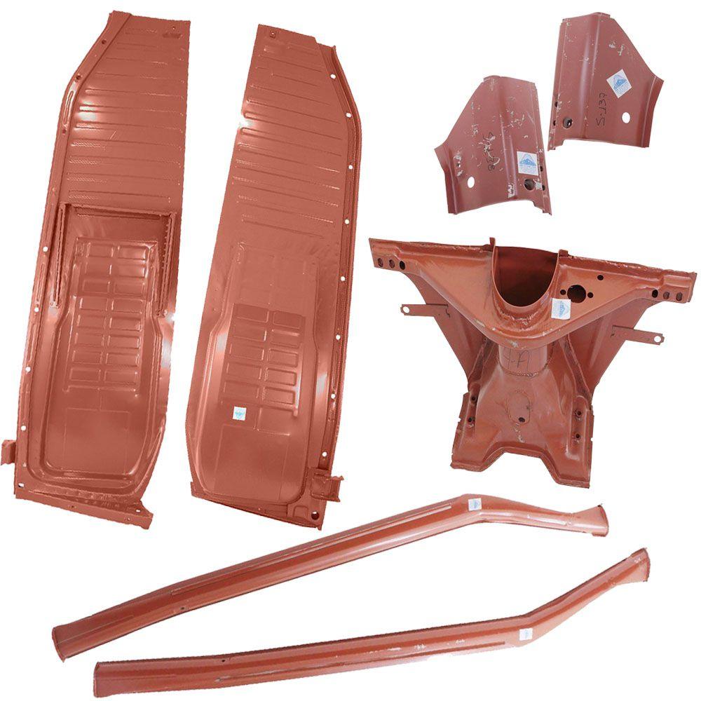 Kit Assoalho Após 1977 + Caixa de Ar + Pé De Coluna + Cabeçote 4x1 VW Fusca Suspensão Pivo  - Bunnitu Peças e Acessórios