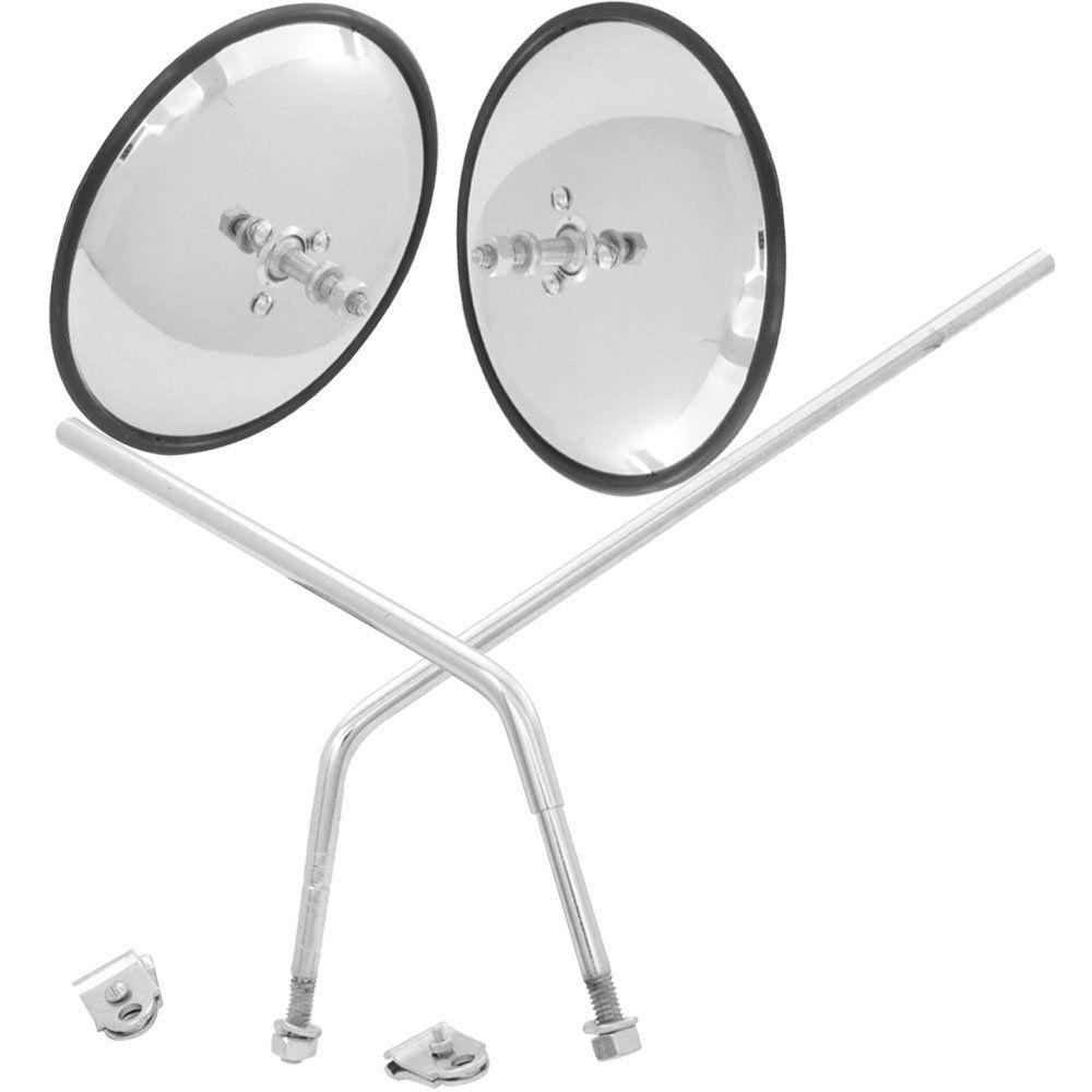 Par de espelhos retrovisores metal cromado para VW Kombi até 1975  - Bunnitu Peças e Acessórios