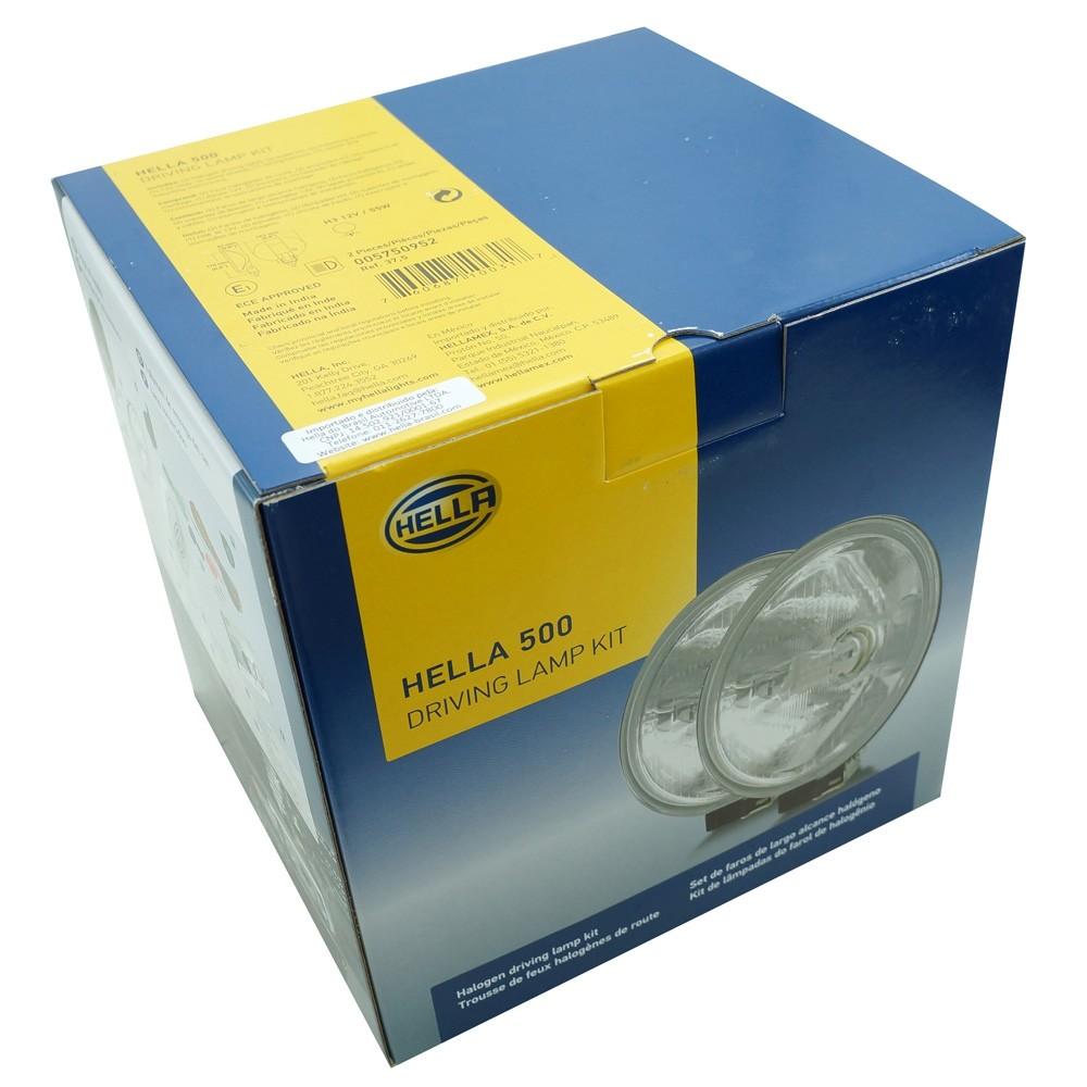 Par de farol de milha, auxiliar modelo Hella 500 com lente semi quadriculada  - Bunnitu Peças e Acessórios