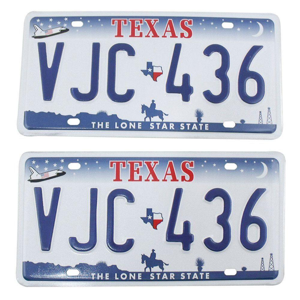 Par de placas de indentificação de carros americanos do estado do Texas  - Bunnitu Peças e Acessórios
