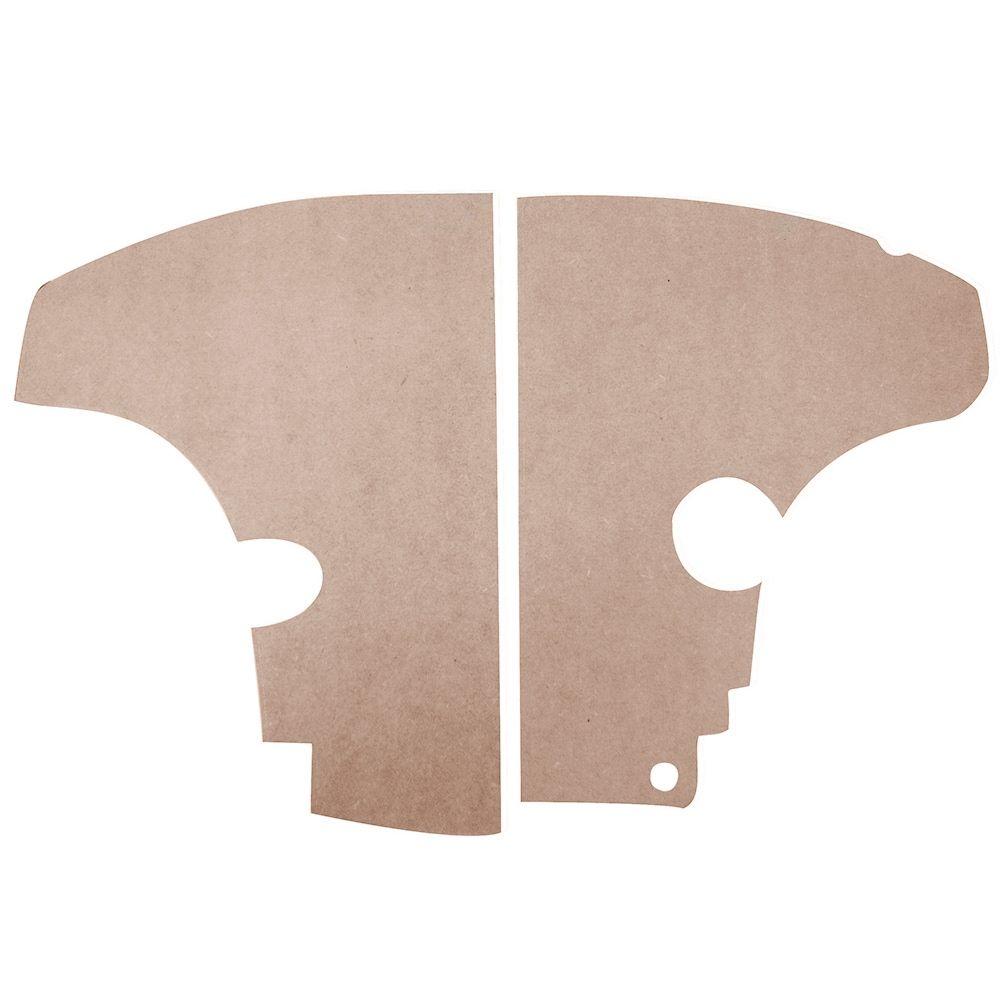 Placa de eucatex do cofre do radiador para Dauphine e Gordini  - Bunnitu Peças e Acessórios