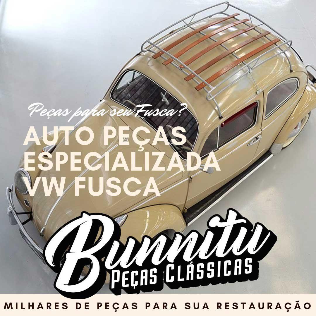 Plaqueta modelo brasão BR Touring Brésil cor branca com suporte curto VW Fusca  - Bunnitu Peças e Acessórios