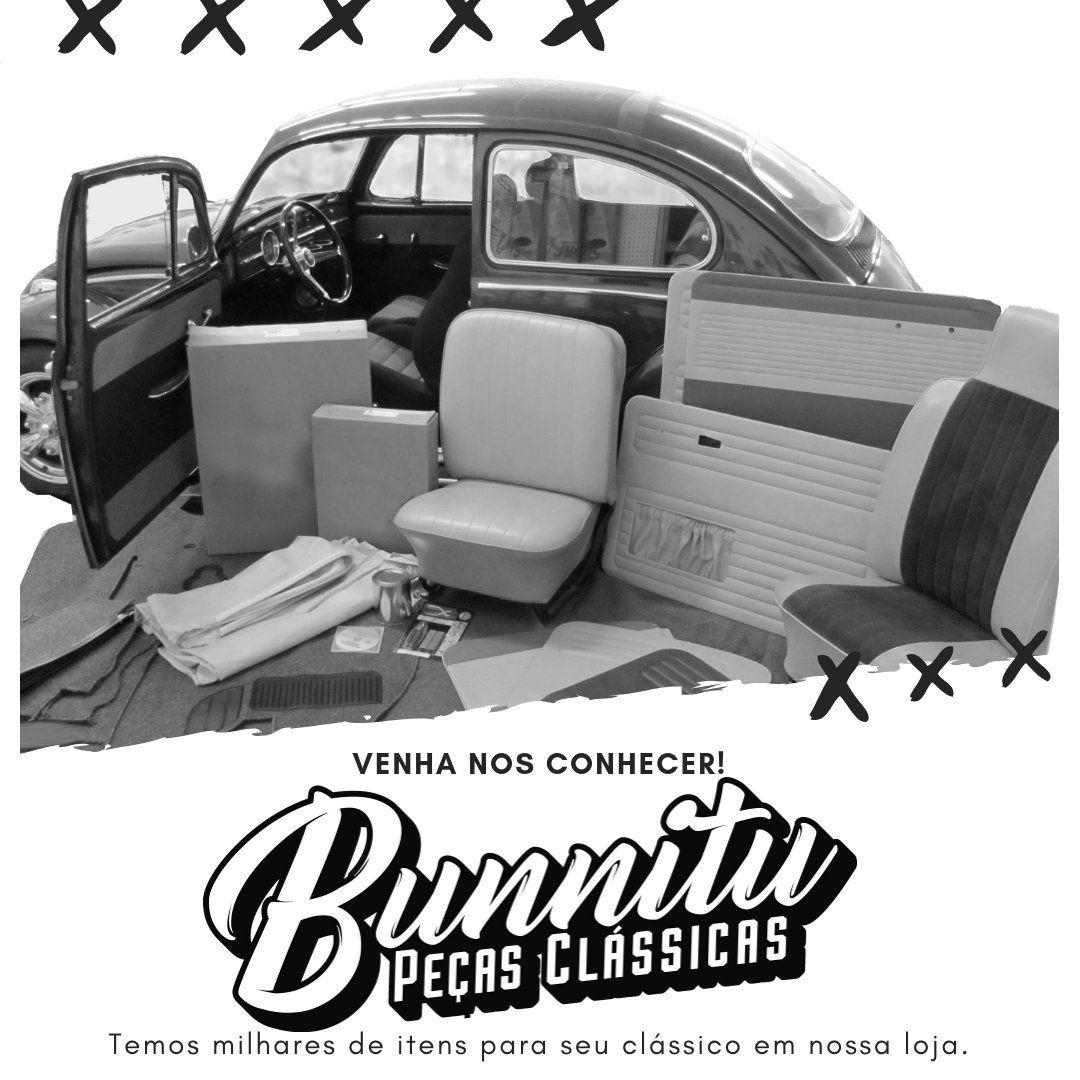 Quebra sol na cor branco com preto com porta documento e espelho para VW Variant 1975 à 1977  - Bunnitu Peças e Acessórios