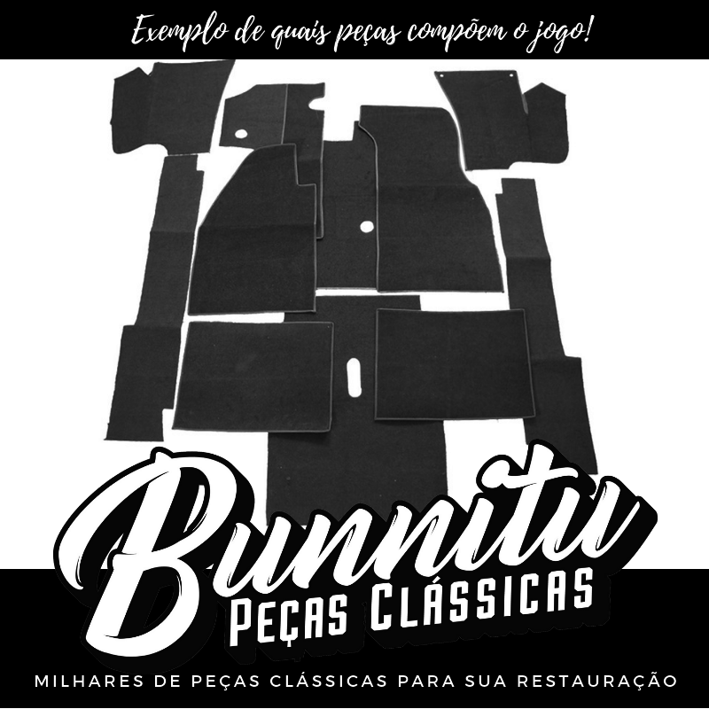 Revestimento modelado em carpete na cor cinza para VW Fusca  - Bunnitu Peças e Acessórios