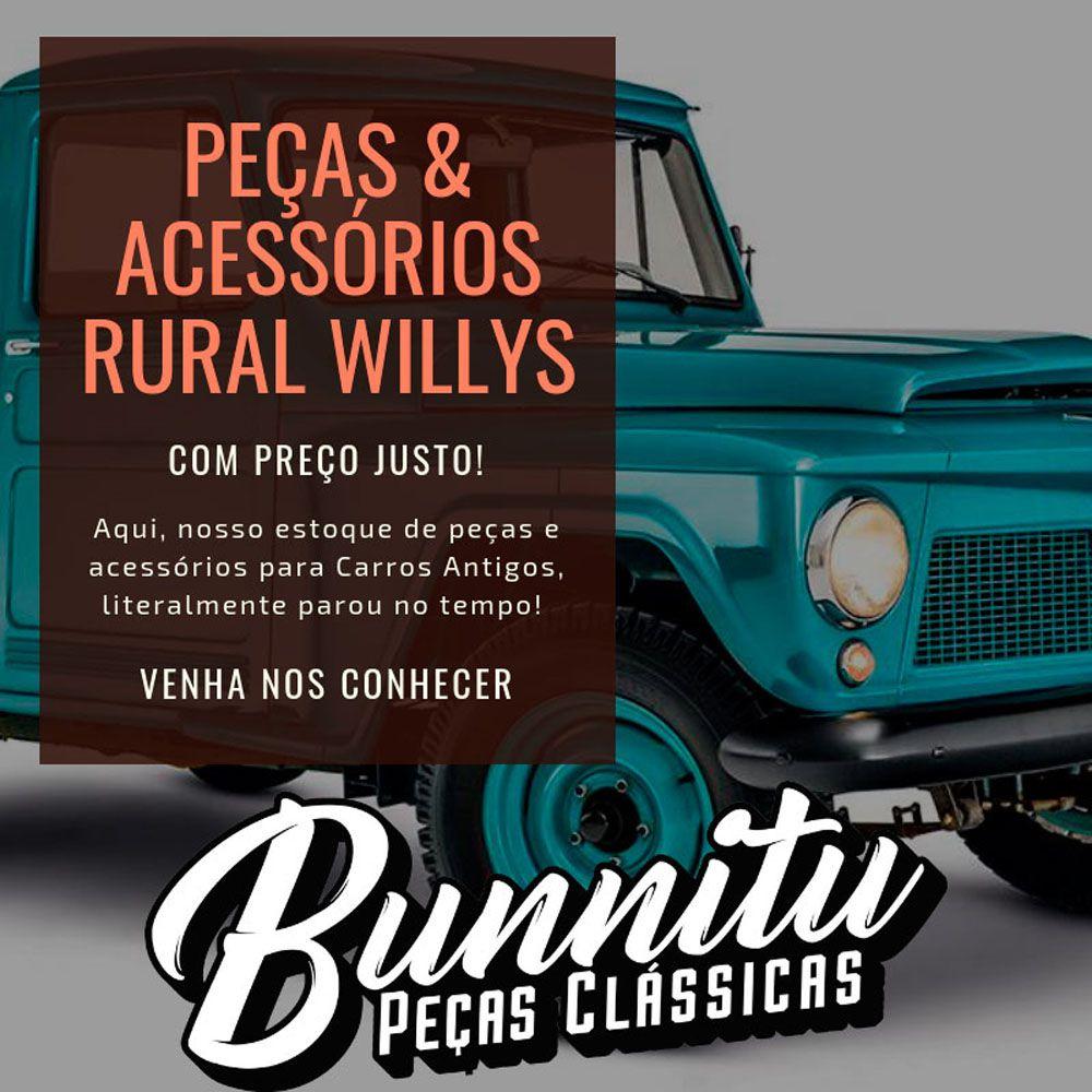 Roseta da maçaneta e manivela interna para porta de Ford Rural, F-75 e Aero Willys  - Bunnitu Peças e Acessórios