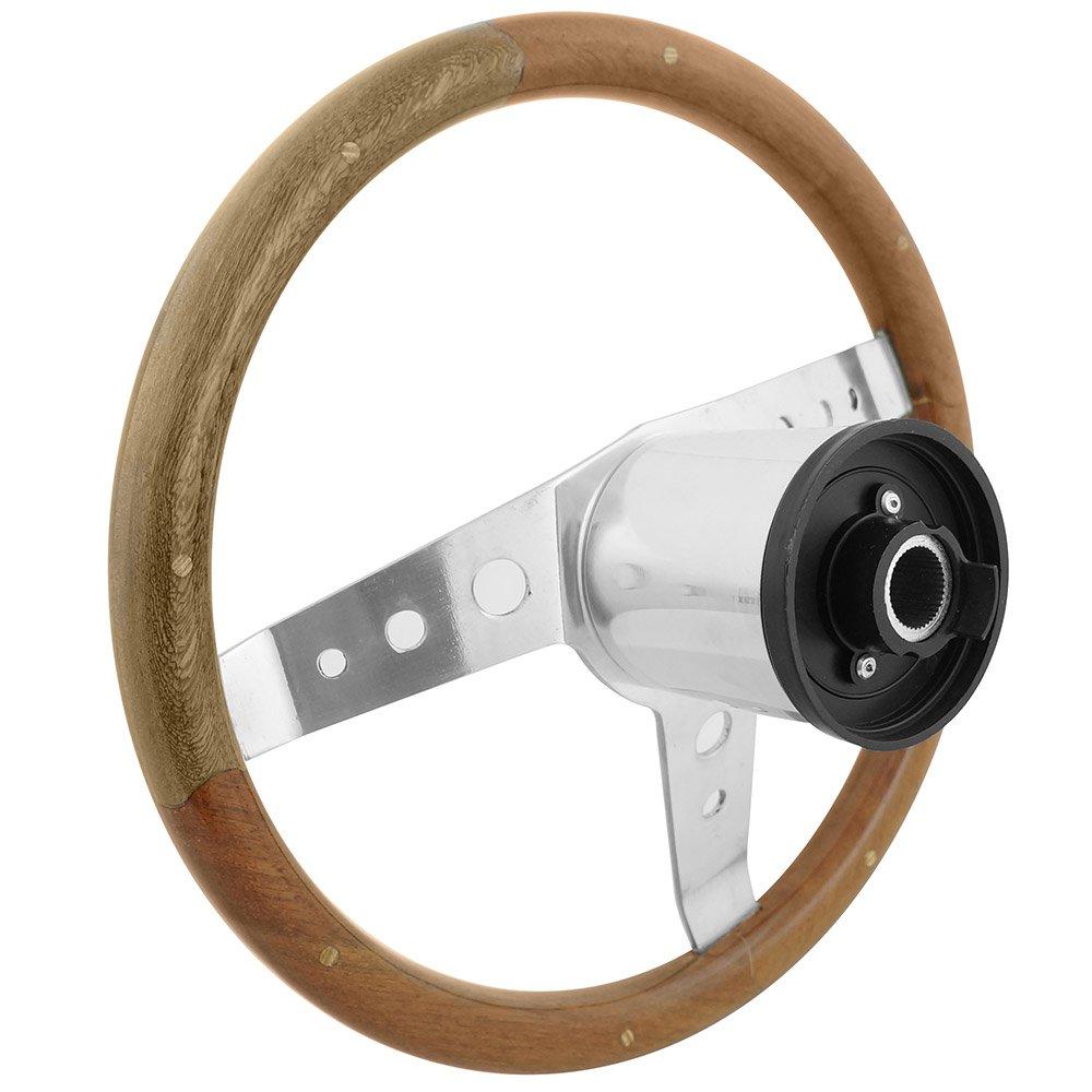 Volante com empunhadura em madeira para Fusca, Variant, Adamo, Buggy, Bianco, cubo VW até 1976  - Bunnitu Peças e Acessórios