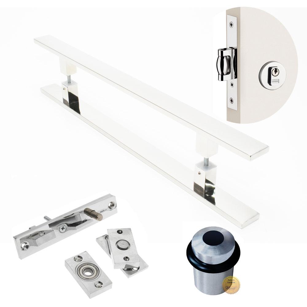 Kit Completo para Porta Pivotante - Puxador 1 Metro Reto - (CLEAN)  - Loja do Puxador
