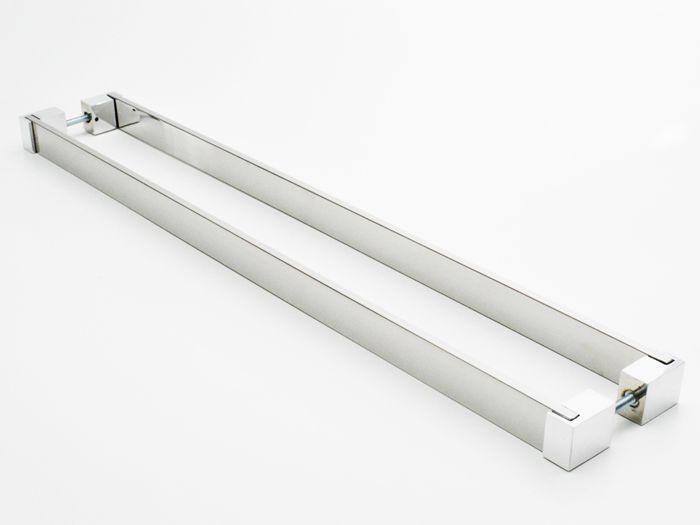 Puxador Para Portas Duplo 100% AÇO INOX 304 POLIDO (LIAN).  puxador reto barra chata 4 cm largura x 1 cm espessura pés especiais nas pontas .  - Loja do Puxador