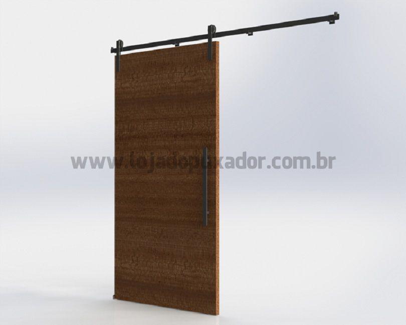 Kit Roldana Aparente Porta Correr Madeira-1,7metros- AÇO INOX-SEM PORTA /PUXADOR  - Loja do Puxador