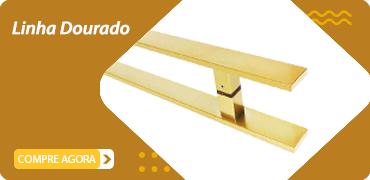 puxador para porta duplo dourado acetinado