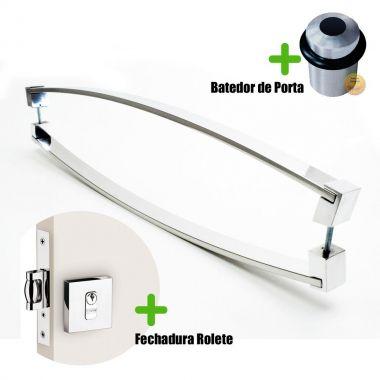 Puxador Porta (DELTA) Aço Inox Polido + fechadura rolete inox polido +Batedor de porta polido