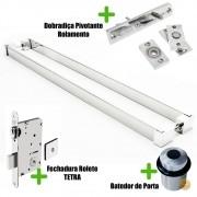 Puxador Porta (LIAN) Aço Inox Polido + fechadura rolete inox polido +Batedor de porta polido +Dobradiça pivotante rolamento 100kg