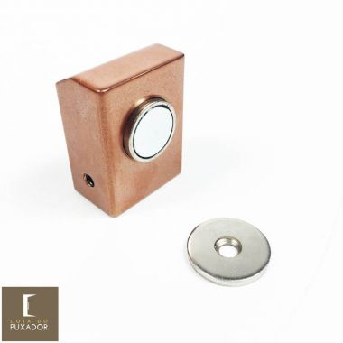 Amortecedor / Prendedor / Batedor / Fixador para porta magnético aço inox Cobre Acetinado red gold com imã