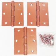 Dobradiça Comum para Porta com Rolamento  3 1/2'' x 3'' Cobre Acetinado Red Gold 3 pç Grande até 35kg